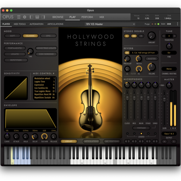 OPUS Hollywood Strings Classic Mood Interface