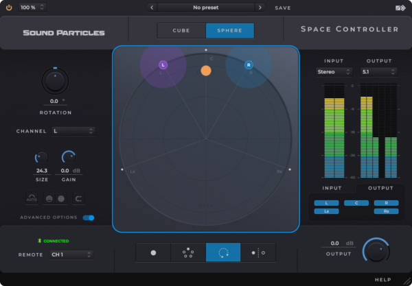 Sound Particles Space Controller Standard Mobile Panner Screenshot